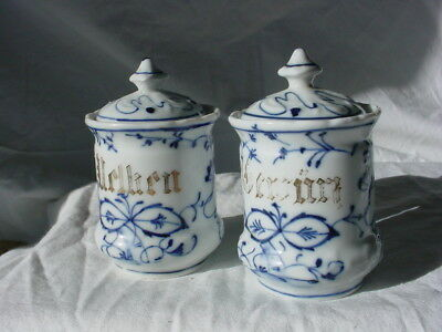 2 19c ANTIQUE GERMAN BLUE ONION SPICE RACK COVERED JARS GOLD TRIM LETTERS