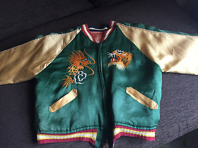 Vintage Japanese Souvenir Reversible Japan Bomber Satin Jacket  Child's 50's