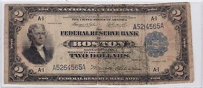 1918 $2 National Currency Federal Reserve Bank Boston Two Dollar Bank Note