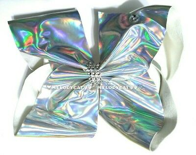 "NEW Large Jojo Style Bow 8"" 🎠BellaBow""❄ SILVER METALLIC HOLOGRAPHIC Ribbon"