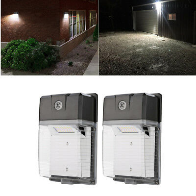 2 PACK 20W LED Wall Pack 5000K Waterproof IP65 Dusk To Dawn Sensor 100-277V AC