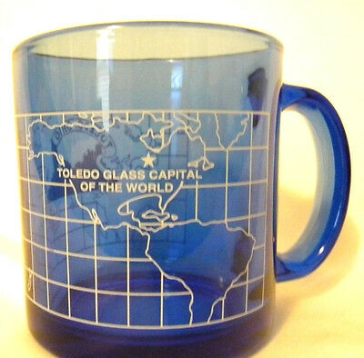 Toledo Coffee Mug Glass Capital of the World Clear Blue Ohio Made in USA