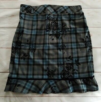 Motherhood Maternity Skirt Size L Large Blue Black Gray Plaid Work Career