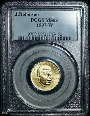 1997 W PCGS Jackie Robinson MS69 Five Dollars $5 Gold Coin