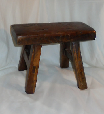 Antique Primitive Wood Milking Foot Stool Farm Display Stand