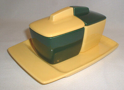Vintage Franciscan 5 Pc El Patio Dk Green & Bright Yellow Toast & Jam/Jelly Set