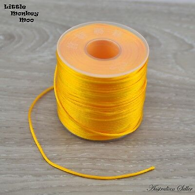 Gold Satin Nylon Cord 1.5mm Teething DIY Necklace Beads Jewellery 1 to 40 Meters