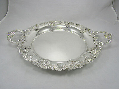 "Antique Sheffield English Silver Plate Grapes & Leaves 19"" Handled Serving Tray"