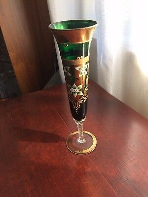 Vintage Rare 1930's Hand Painted & Gilded Green Venetian Glass Vase, Twist Stem