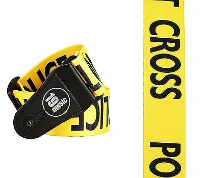 DO NOT CROSS Yellow POLICE LINE Guitar Strap acoustic electric adjustable gift