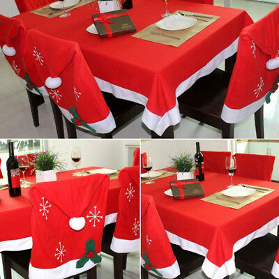 Christmas Red Tablecloth Xmas Party Dining Kitchen Table Runner Cover Decor RM6