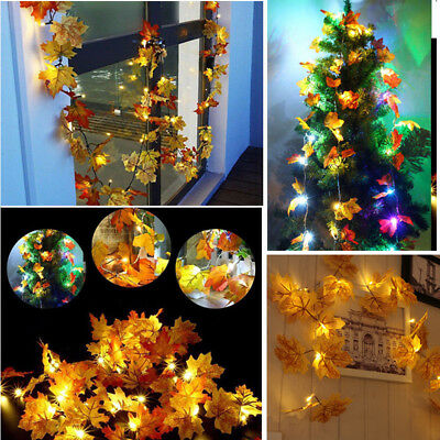 Autumn 10LED Maple Leaf String Romantic Mood Light Battery Garland Decor RM6