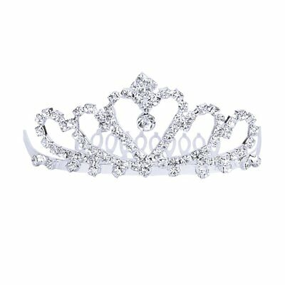 Flower Rhinestone Bridal Tiara w/ Comb Pin for Wedding/Prom AD L2