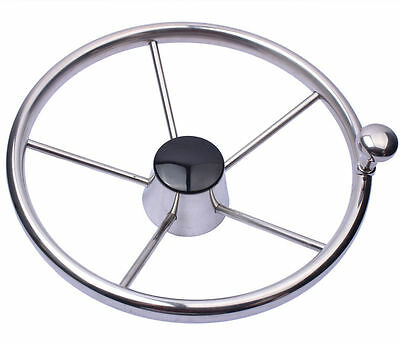 """Boat 316 Stainless Steel 11"""" Steering Wheel With Knob 5 Spoke for Marine Yacht"""
