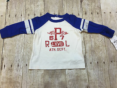 Ralph Lauren Polo Ls T-Shirt Red White Blue Pony Boys Size 3 Month New With Tags
