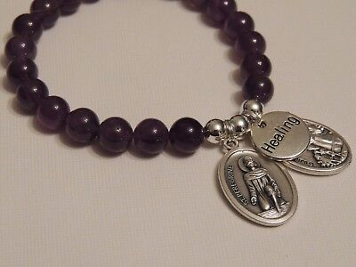 St Peregrine-Cancer Saint & Guardian Angel-Amethyst 8Mm Gemstone Bracelet