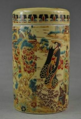 Rare Landscape chinese old Handwork Porcelain Drawing Dowager NR