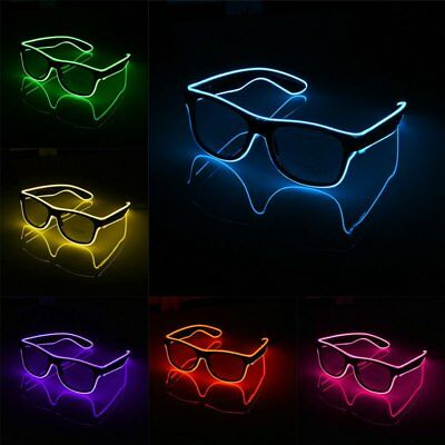 LED Wireless Glasses Neon Light Up Glow Sunglasses Eyewear Shade Nightclub Party