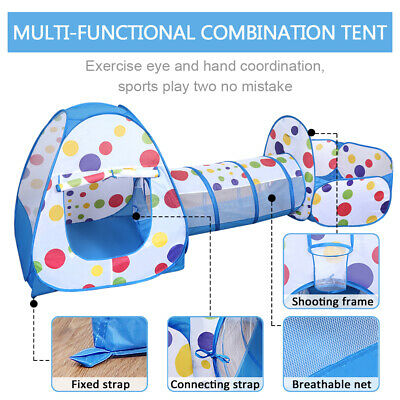Portable 3 in 1 Childrens Kids Baby Play Tent Tunnel Ball Pit Playhouse Pop Up