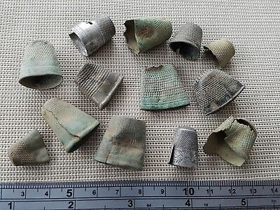 Lovely post Medieval thimble lot Silver and bronze damaged and bent  L11i