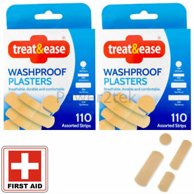 200 + 20 Quality Assorted First Aid Washproof Plasters for Home/Office Durable