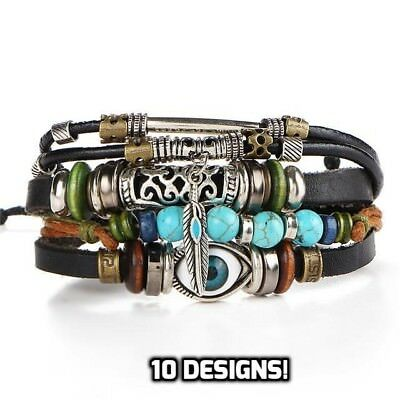 Mens Adjustable Genuine Leather Bracelet Bangle Wristband Punk Cuff Beaded GIFT