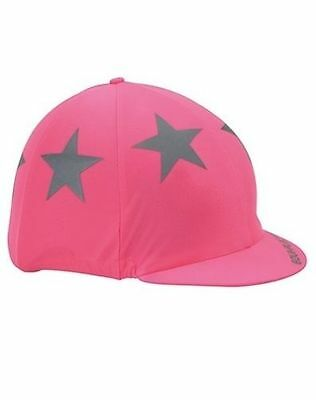 Shires EQUI-FLECTOR Safety Reflective High Viz Hat Cover in Pink 852