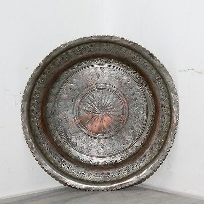 Old 1930's Antique Beautiful Hand Carved Design Copper Islamic Round Shape Plate