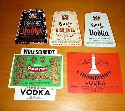 Collectable Vodka labels -  Set of 5 assorted Vodka imperial labels MINT