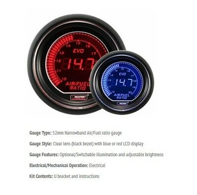 Genuine Prosport Evo 52mm Red Blue Air Fuel Ratio Gauge AFR narrowband