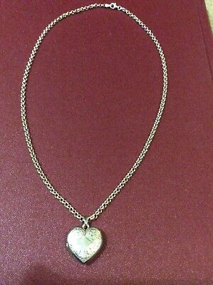 Sterling Silver Belcher necklace chain with Love Heart Locket