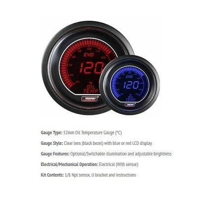 Genuine Prosport Evo 52mm Red Blue Gauge Oil Temperature Temp Deg C