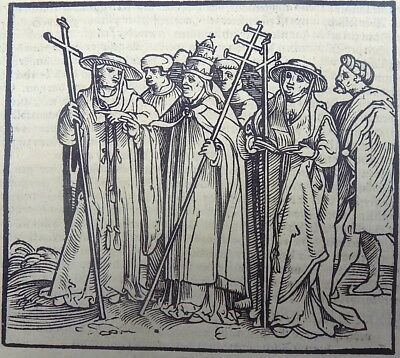 1544 Hans Burgkmair the Elder (1473–1531) large woodcut RELIGIOUS HIERARCHY POPE