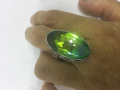 Vintage Silver Antique Green Faceted Peridot Glass Ring