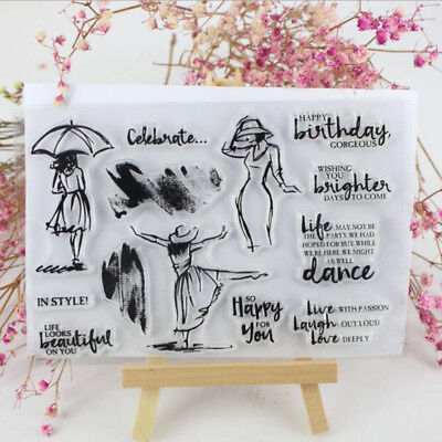 Dance Women Transparent Clear Silicone Rubber Stamp DIY Scrapbooking Card Decor