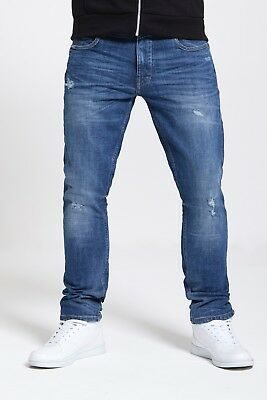 Mens Slim Fit Stretch Jeans In Mid Rip Repair (Gravity)