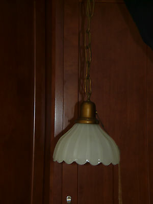 Vintage Antique Milk glass Pendant Hanging Light 1920 Art Deco