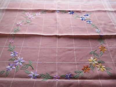 Vintage Tablecloth Hand embroidered pink & white multi coloured embrodery