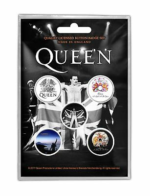 Queen Badge Pack Classic Crest band logo Freddie Mercury new Official Black