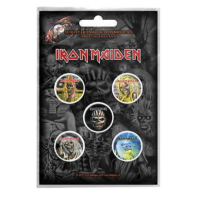 Iron Maiden badge pack 5 x Pin Button band logo Eddie Book of Souls Official
