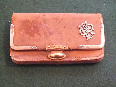 Antique Leather & Solid Silver Purse - Monogrammed - 1914