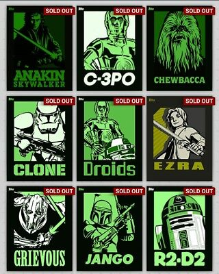 Topps Star Wars Card Trader 2015 Icon Green Full Set + Award Inc