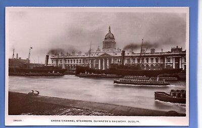 Old Vintage Rp Postcard Cross Channel Steamers Guinness's Brewery Dublin Ireland