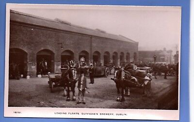 Old Vintage Postcard Loading Floats Horses Guinness's Brewery Dublin Ireland