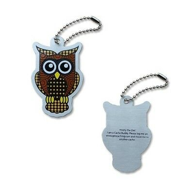Hooty the Owl Travel Tag Geocaching trackable Geocoin Travelbug