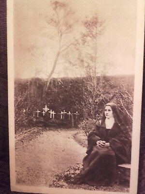 Antique Photo Postcard St Therese of Lisieux in Garden of the Monastery Sepia