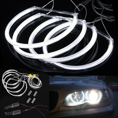 4x White CCFL Angel Eye Halo LED Ring Light Non-Projector For BMW E46 3 Series