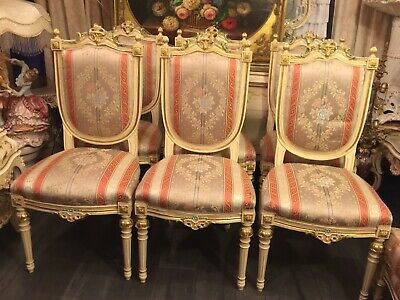Vintage Italian Furniture Handpainted artist Rossi Table 6 Chairs French Rococo