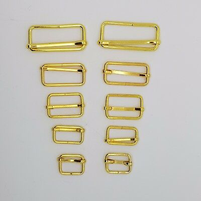 Gold Metal Sliding Bars Buckles Straps for Webbing Strap Tape Craft