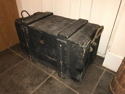 Vintage Wood Box, Army Storage Trunk, Blanket Box